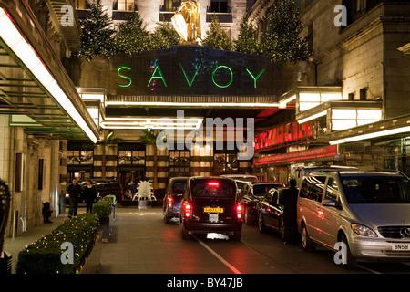 Main entrance to the Savoy Hotel, London, Uk - Stock Photo