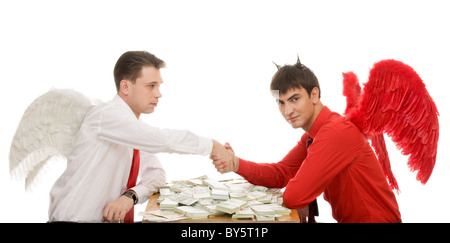 Image of deal between god and devil over table with dollars - Stock Photo