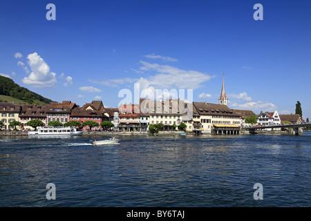 View at excursion boat and lake-side town, Stein am Rhein, High Rhine, Lake Constance, Canton Schaffhausen, Switzerland, - Stock Photo