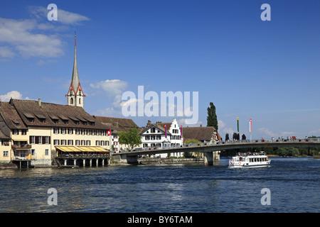 View at houses and bridge at the lake, Stein am Rhein, High Rhine, Lake Constance, Canton Schaffhausen, Switzerland, - Stock Photo