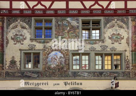 Facades at the city hall square, Stein am Rhein, High Rhine, Lake Constance, Canton Schaffhausen, Switzerland, Europe - Stock Photo