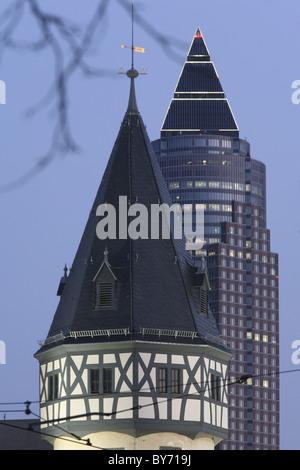 Bockenheimer Warte and Messeturm, Frankfurt am Main, Hesse, Germany - Stock Photo