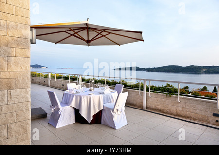 Patio, Hotel Radisson Blu, Dubrovnik, Dalmatia, Croatia - Stock Photo