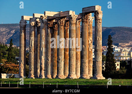 Columns of the Corinthian order, from the Temple of Olympian Zeus, Athens, Greece - Stock Photo