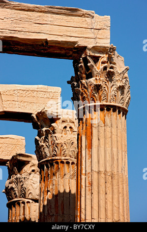 Column capitals of the Corinthian order, from the Temple of Olympian Zeus, Athens, Greece - Stock Photo