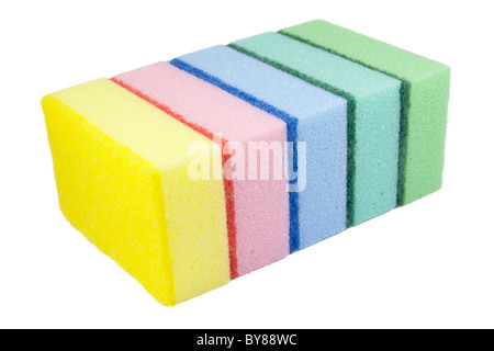 Five multi-colored kitchen sponges. Isolated on white background. - Stock Photo