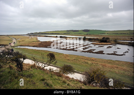 Cuckmere Haven is an area of flood plains in Sussex  where the river Cuckmere meets the English Channel - Stock Photo