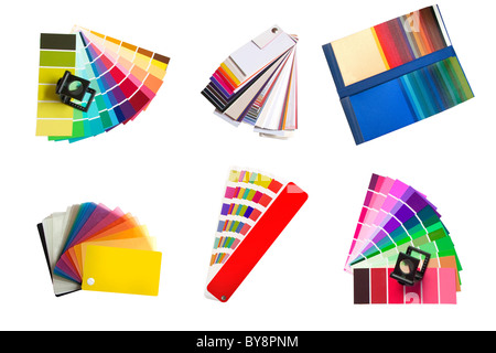 swatches selection for colour, fabric and plastic isolated on a white background - Stock Photo
