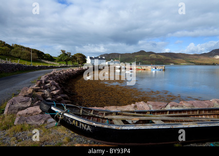 Small Fishing Harbour, with Curraghs in the Foreground, with Achill Island in the background, Corraun Peninsula, - Stock Photo