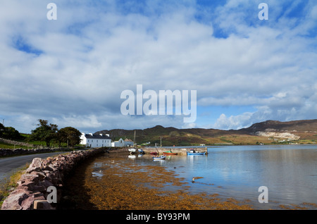 Small Fishing Harbour on Achill Sound, Corraun Peninsula, County Mayo, Ireland - Stock Photo