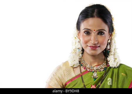 Portrait of a South Indian woman - Stock Photo
