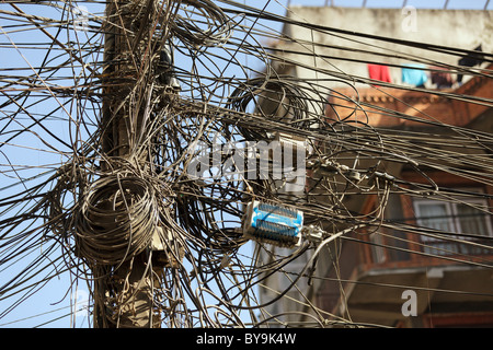 very messy electric cables in asian city, kathmandu,nepal - Stock Photo