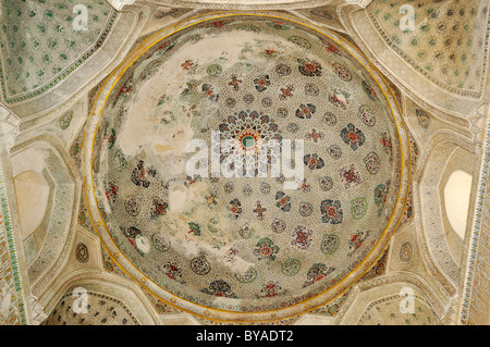Painted interior cupola of Kok Gumbaz Mosque in Shahrisabz, Unesco World Heritage Site, Uzbekistan, Central Asia - Stock Photo