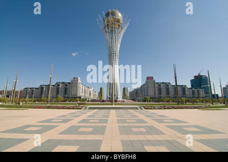 Bayterek Tower, landmark of Astana, Kazakhstan, Central Asia - Stock Photo