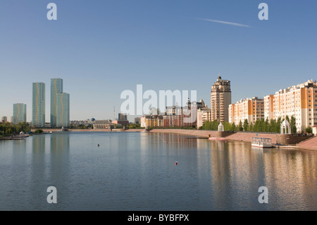 Skyline of Astana with skyscrapers, Kazakhstan, Central Asia - Stock Photo