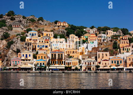Partial view of Gyalos village, capital and main port of Symi island, Dodecanese, Greece - Stock Photo