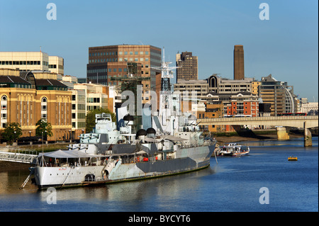HMS Belfast on the River Thames in London - Stock Photo