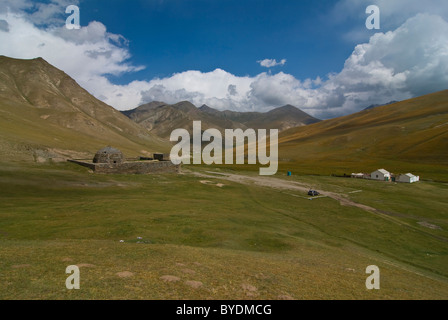 Caravanserai, stone house, Tash Rabat, Kyrgyzstan, Central Asia - Stock Photo