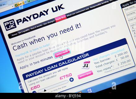 Payday U.K. pay day loans website. - Stock Photo