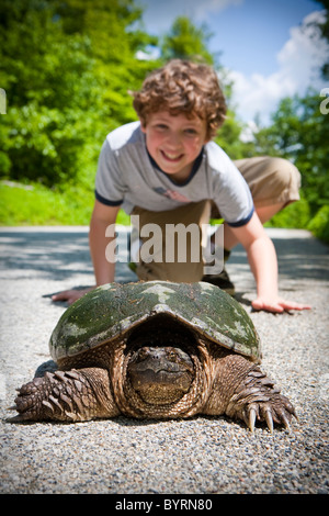 Large snapper turtle and young boy. - Stock Photo