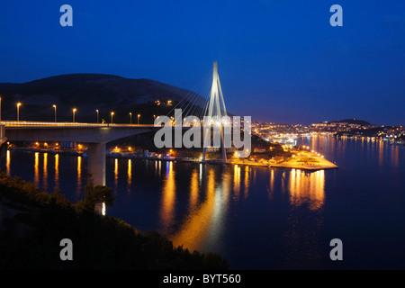 Stay cable bridge across a bay near Dubrovnik, Dalmatian coast, Dubrovnik, Croatia, Adriatic - Stock Photo
