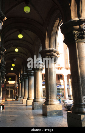 Salvo Palace (Palacio Salvo) Colonnade, Montevideo, Uruguay, South America - Stock Photo