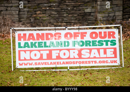 A protest in Grizedale Forest, Lake District, against the governments proposals to sell off Forestry Commission - Stock Photo