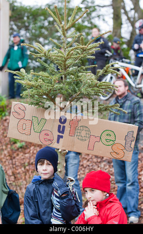 People protesting in Grizedale Forest, Lake District, against the governments proposals to sell off Forestry Commission - Stock Photo
