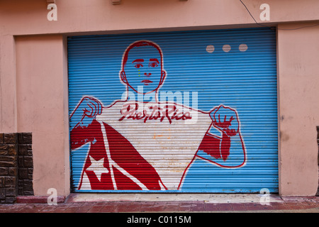 Pro-independence painting on a wall in Old San Juan, Puerto Rico - Stock Photo