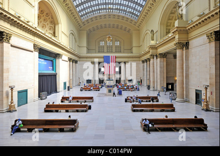Interior view of the Great Hall, main waiting room, Union Station, Chicago, Illinois, United States of America, - Stock Photo