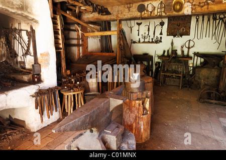 Blacksmith's shop, Markus Wasmeier Farm and Winter Sports Museum, Schliersee, Upper Bavaria, Bavaria, Germany, Europe - Stock Photo