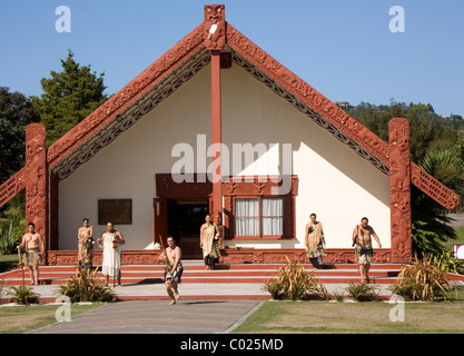 Performance, Rotowhio Marae, Te Puia, Rotorua, New Zealand - Stock Photo
