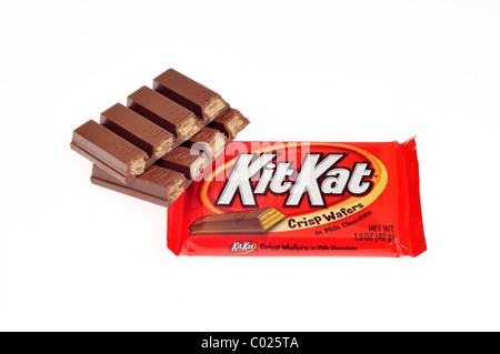 2 Kit Kat chocolate bars one wrapped one unwrapped and broken in half on white background, cutout. - Stock Photo