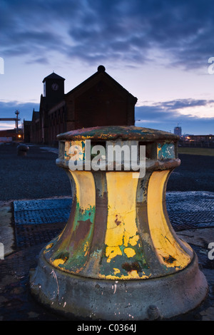 Capstan near the Harland & Wolff Pump-House, and 'Titanic' dry dock, Belfast, Northern Ireland - Stock Photo