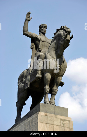 Equestrian statue, Monument of King Vakhtang Gorgasali, Avlabari district, Tbilisi, Georgia, Western Asia - Stock Photo
