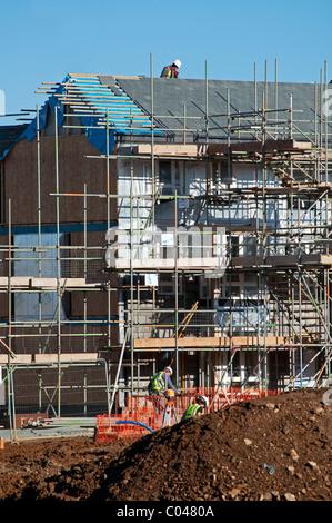 Affordable housing under construction near Exeter, devon, UK - Stock Photo