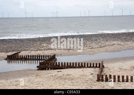 Groynes, Caister-on-Sea, Norfolk, UK. - Stock Photo