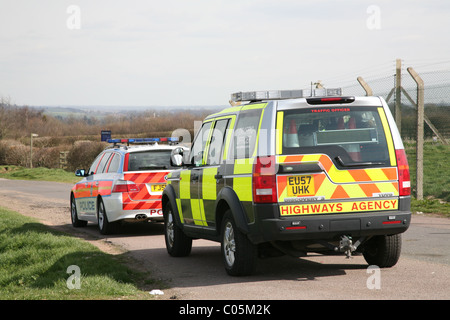 highways agency vehicle on patrol at the east midlands airport with the police - Stock Photo