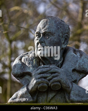 Plinth with the Statue of Sir Peter Scott, at Martin Mere, Burscough, Southport, Merseyside, UK - Stock Photo