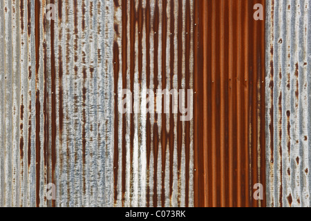 Old wall texture with old and rusty corrugated iron - Stock Photo
