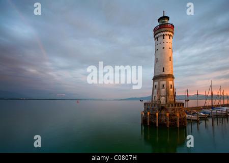 Lindau port entrance in the evening light, lighthouse, Lake Constance, Bavaria, Germany, Europe - Stock Photo
