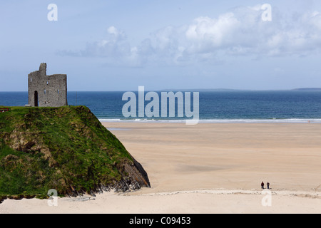 Ballybunion Castle and Ladies Beach, Ballybunion, County Kerry, Ireland, British Isles, Europe - Stock Photo