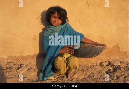 Girl in the Khuri village, Thar desert, Rajasthan, India, Asia - Stock Photo