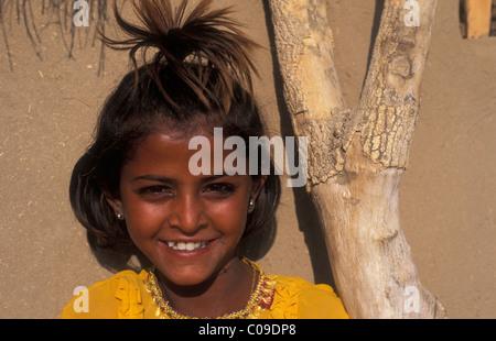Portrait, girl in Khuri village, Thar desert, Rajasthan, India, Asia - Stock Photo