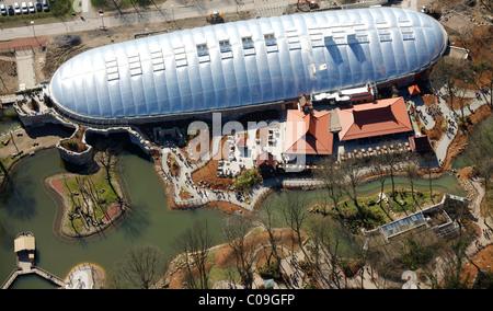 Aerial view, zoo, Zoom Erlebniswelt animal theme park, Willy-Brandt-Allee, Gelsenkirchen, Ruhrgebiet region - Stock Photo