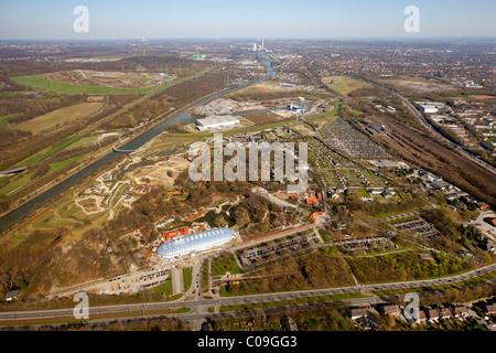 Aerial view, zoo, Zoom Erlebniswelt animal theme park, Holderlinstrasse 72, Gelsenkirchen, Ruhrgebiet region - Stock Photo