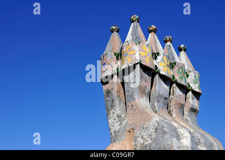 Detailed view of the roof structure symbolizing the scales of a dragon, Casa Batllo building, designed by Antoni - Stock Photo