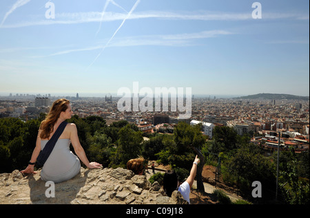 View from the vantage point Turó de les Tres Creus over Barcelona, Park Gueell, Parc or Parque Gueell, designed - Stock Photo