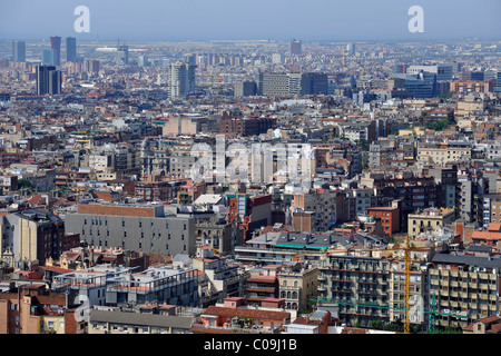 View from the vantage point Turó de les Tres Creus over Barcelona, in the back the airport, Barcelona, Catalonia, - Stock Photo
