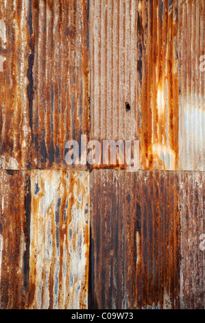 Rusty corrugated iron, saltpeter works, abandoned salpeter town, ghost town, museum, Unesco World Heritage Site, - Stock Photo